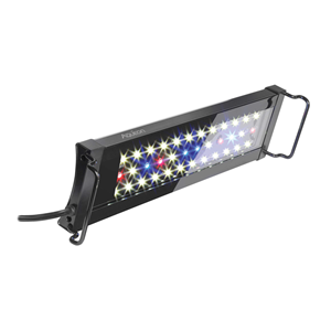 """12"""" to 18"""" image of the OptiBright light fixture showing all red, white, and blue LED lights turned on"""