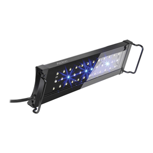 """12"""" to 18"""" image of the OptiBright light fixture with only the moon glow LEDs turned on"""